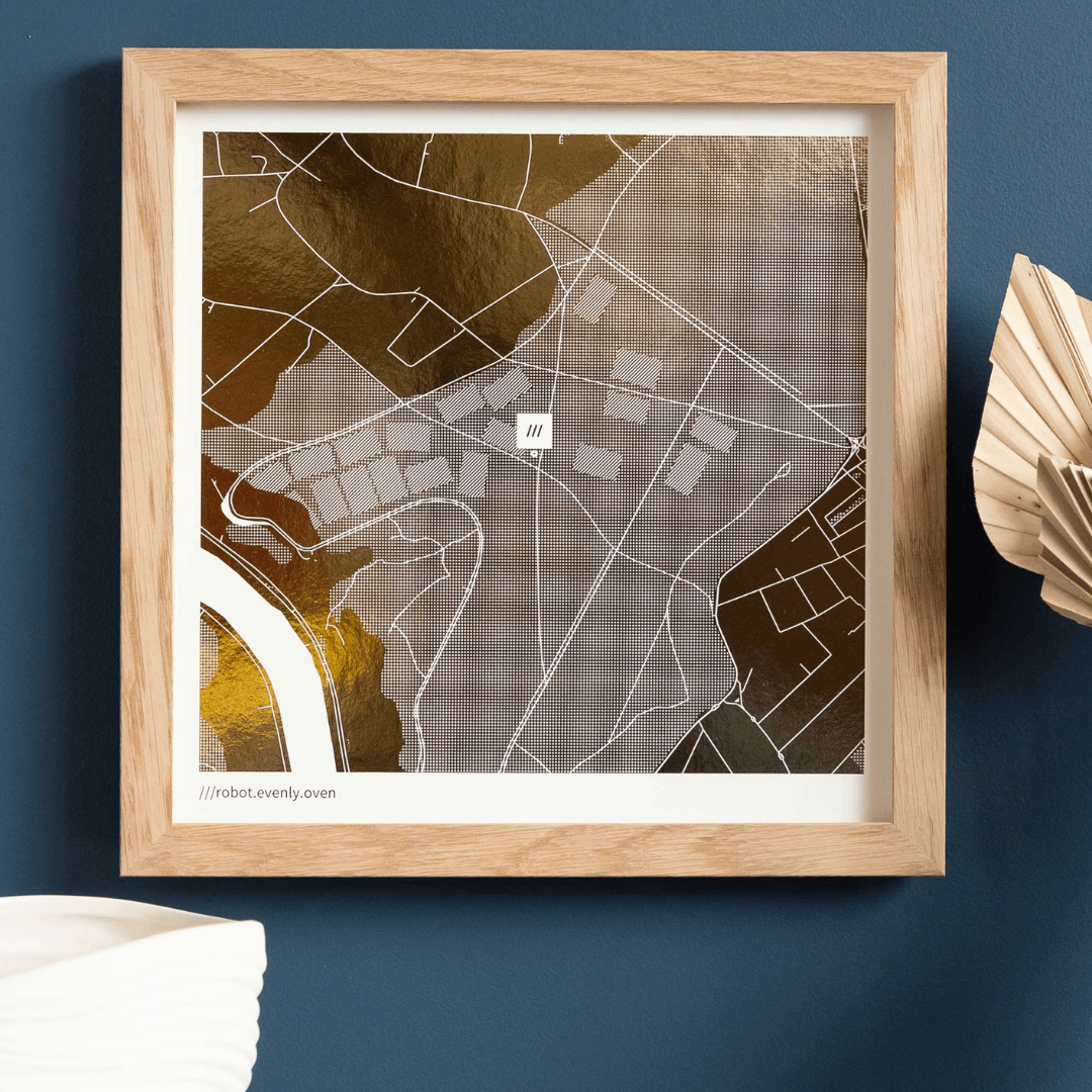 Yve Print Co foil map print with what3words address
