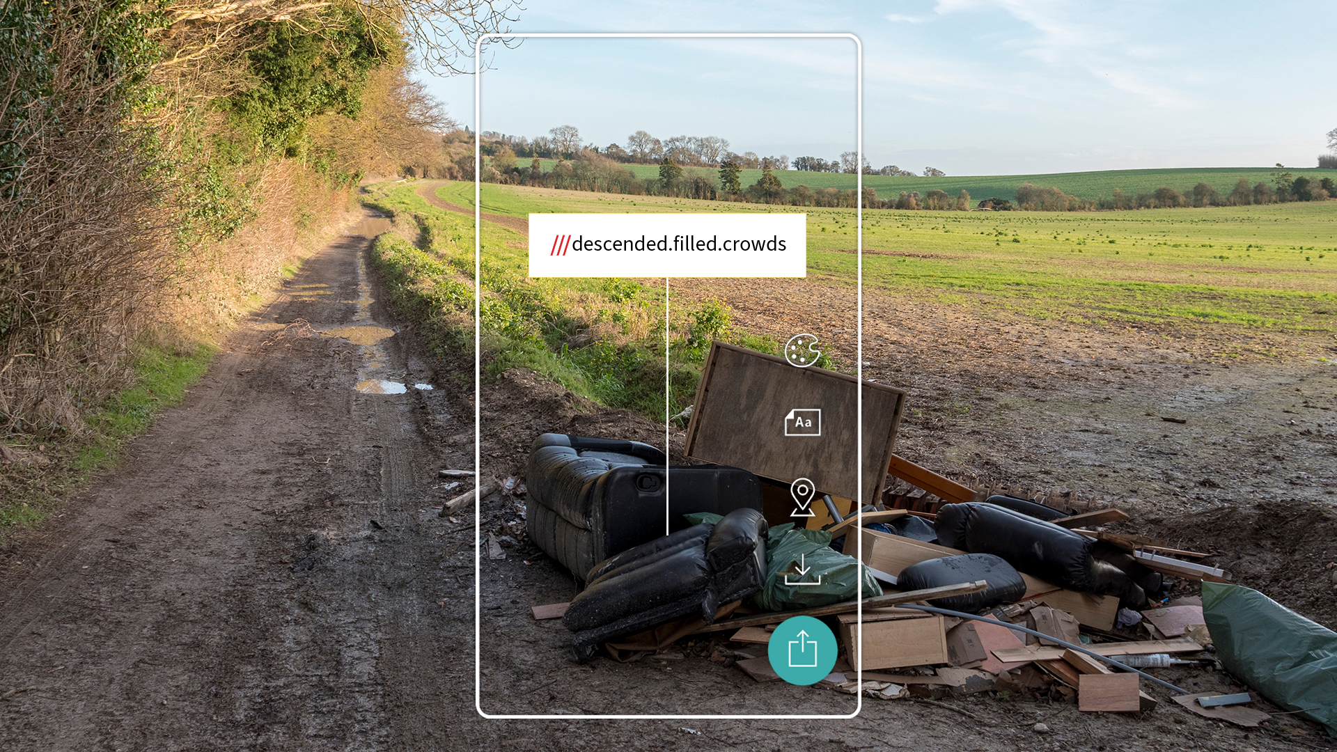 fly tipping report at what3words address