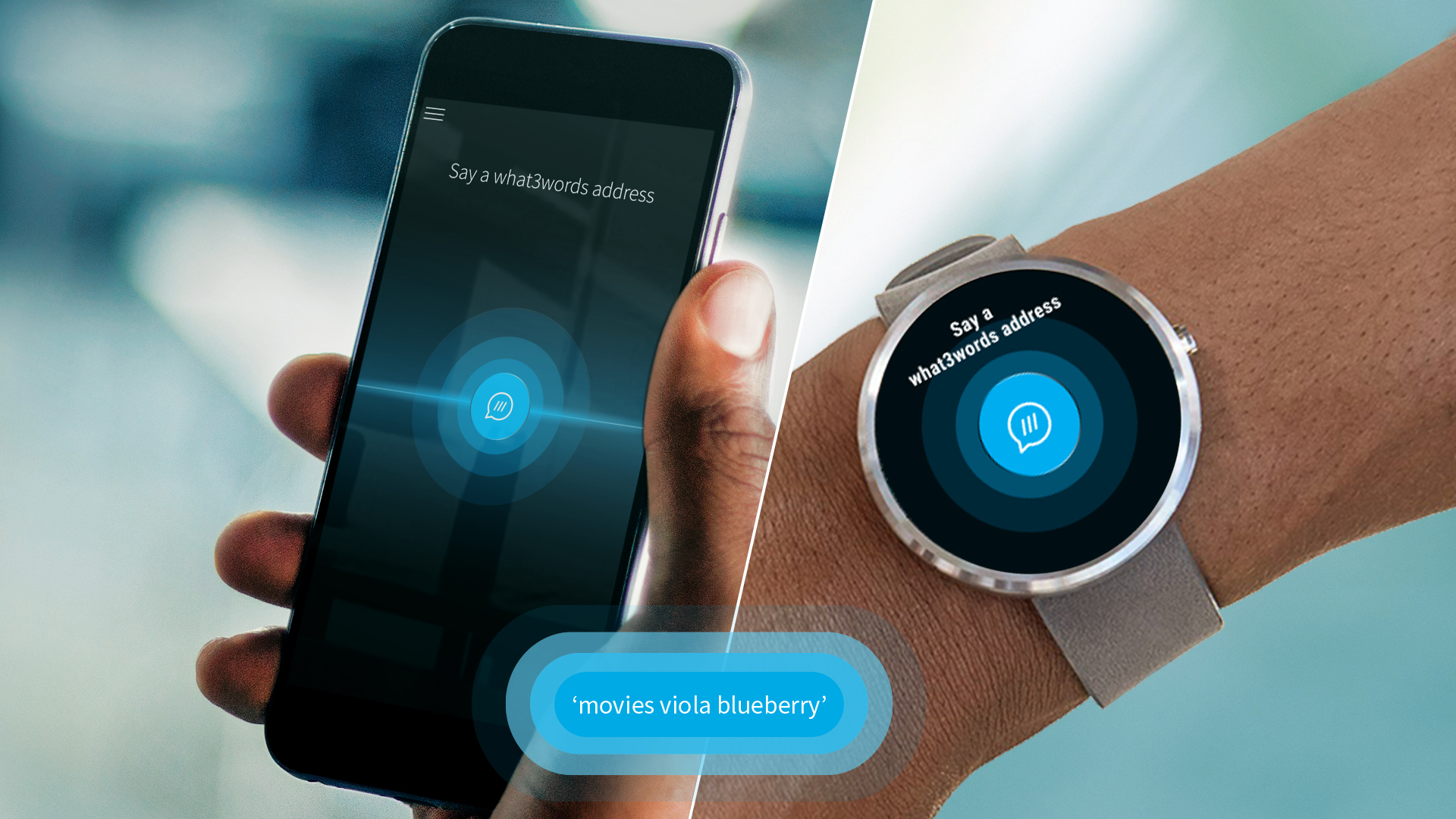 3WordAuto app displayed on mobile and wearable device
