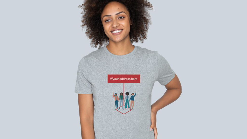 Teemill t-shirt with what3words address