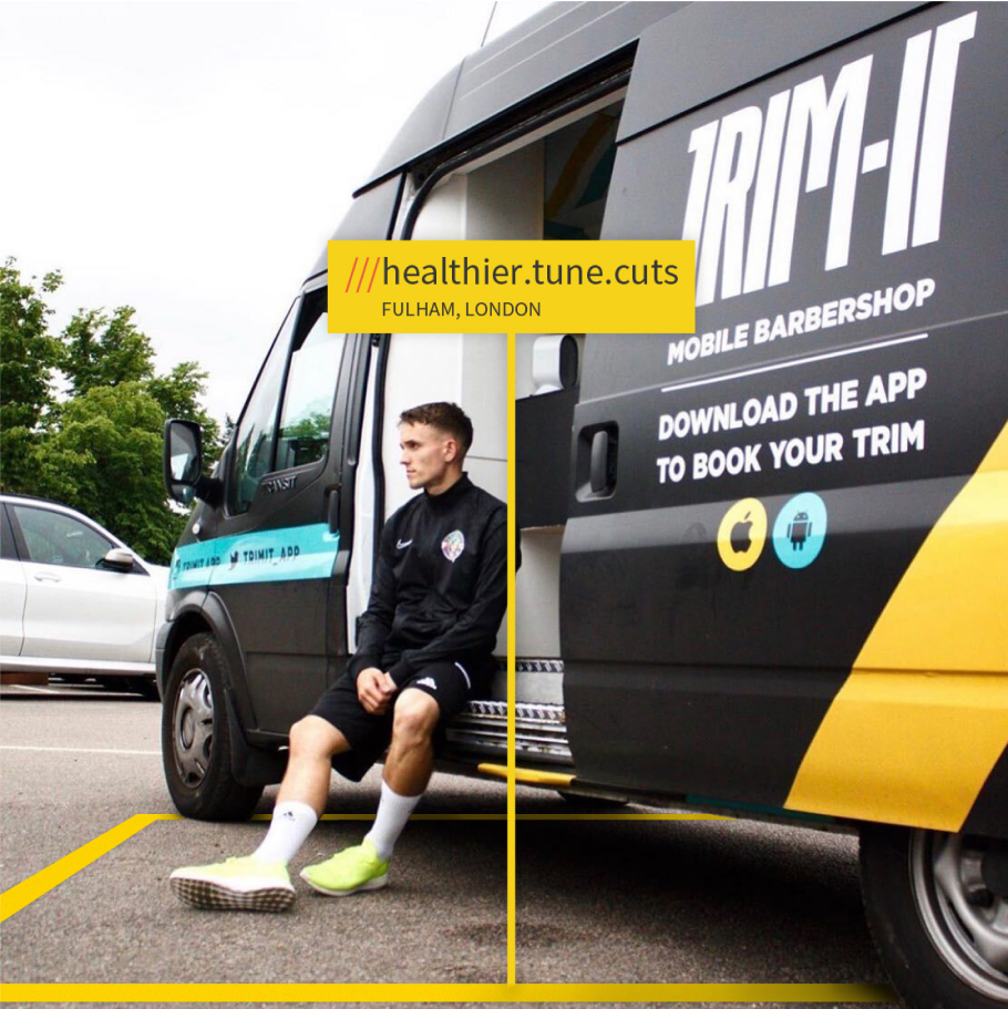 trim-it van arrivign at what3words aaddress