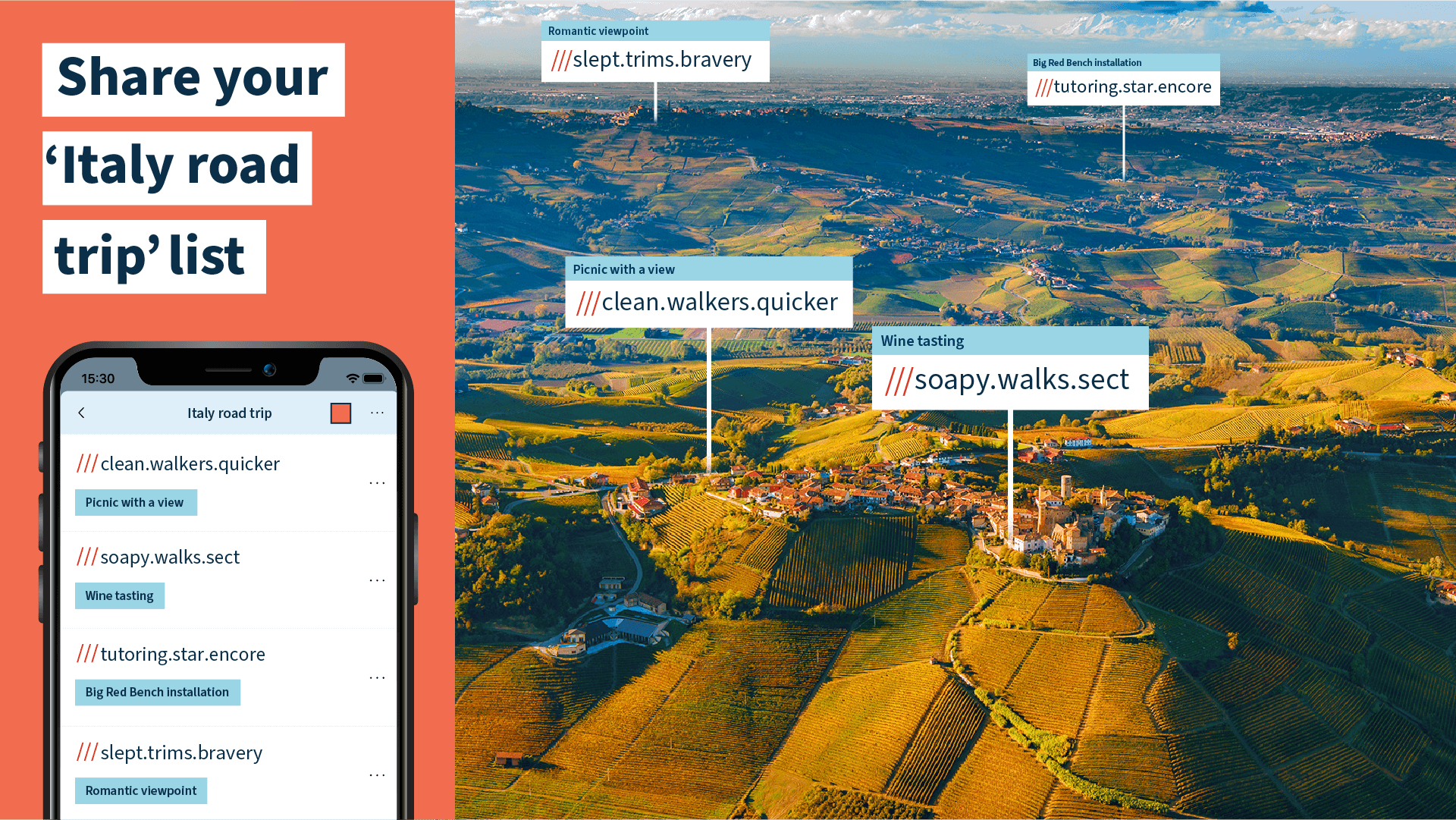 list of what3words addresses saved under 'Italy road trip' with sharing options