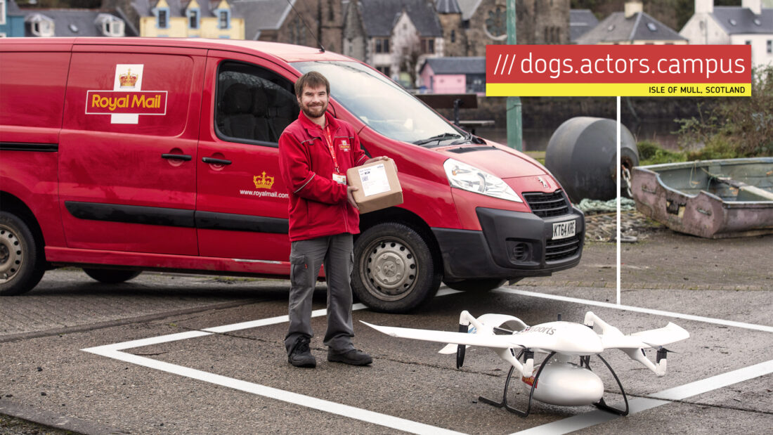 Royal Mail van, employee and drone