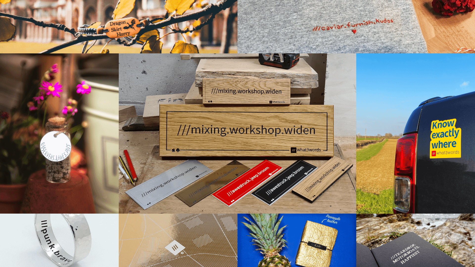Makers products personalised with a what3words address