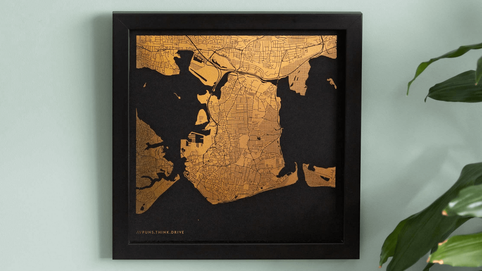 Foil map print with what3words address by Yve Print Co.