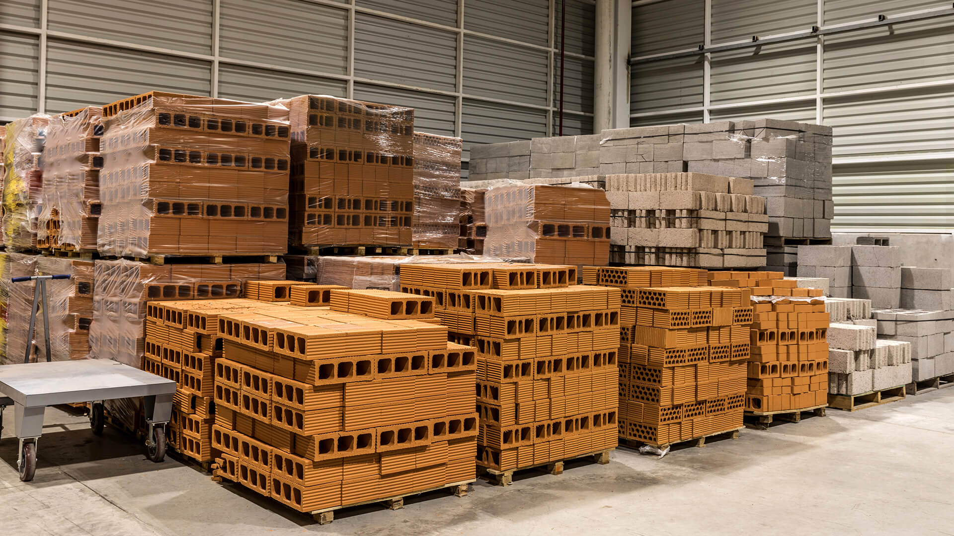Crates of bricks in warehouse