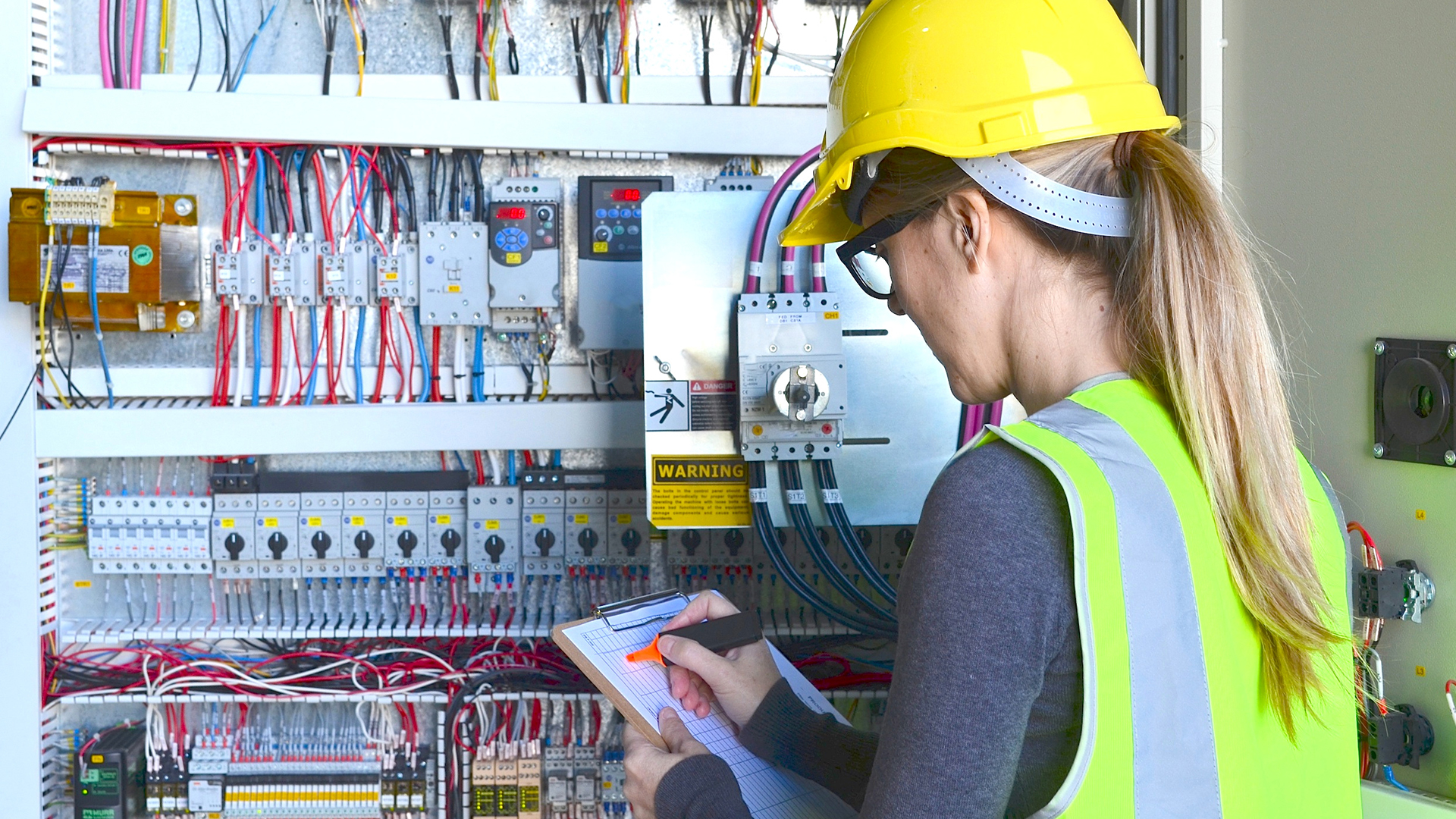 Electrician working on site