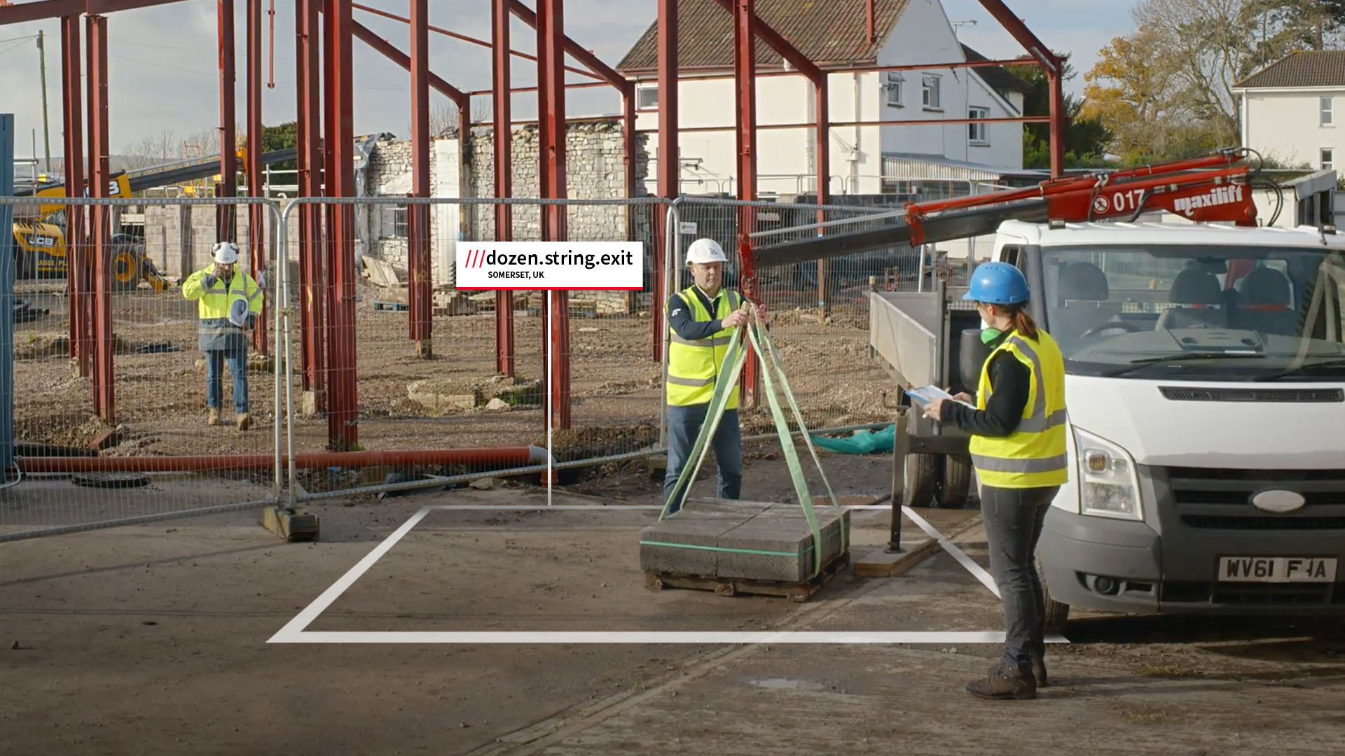 Builders working on construction site at what3words address dozen string exit