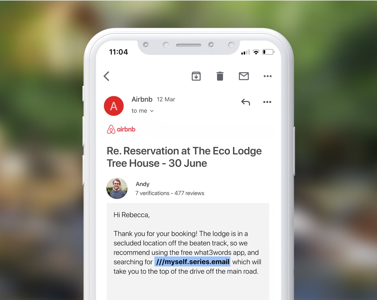 Screenshot of an airbnb email