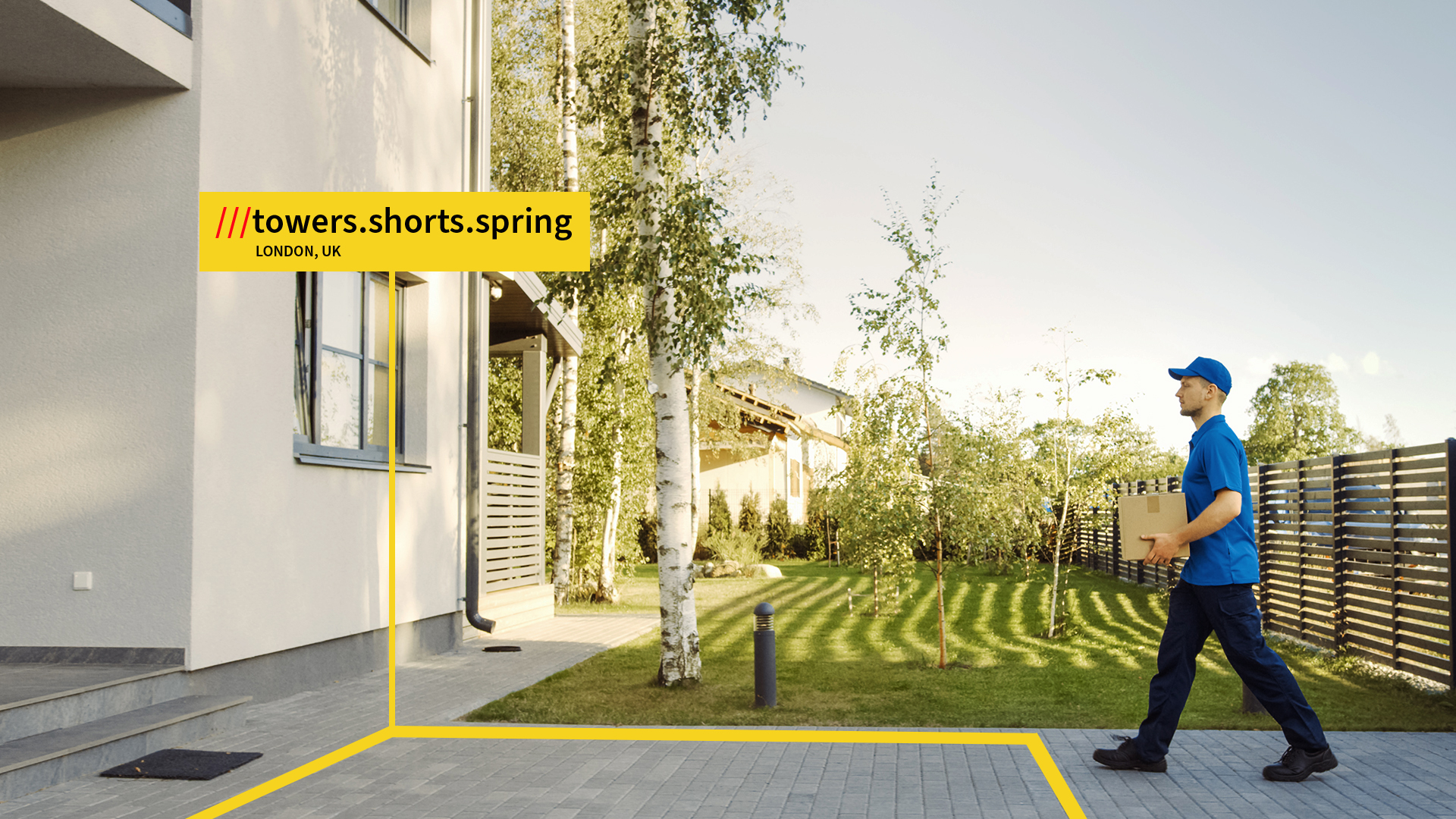 Delivery driver arriving at what 3 words address towers shorts spring