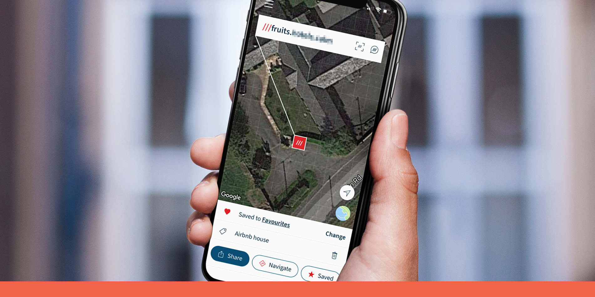 What3words saved location function in use