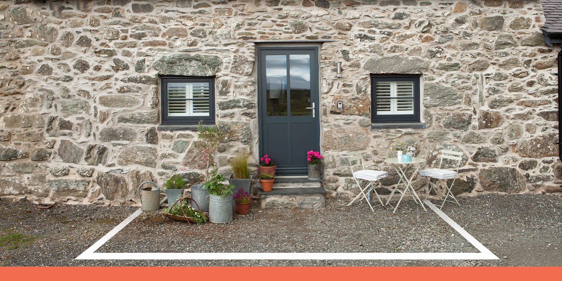 3 by 3 metre square outside holiday cottage
